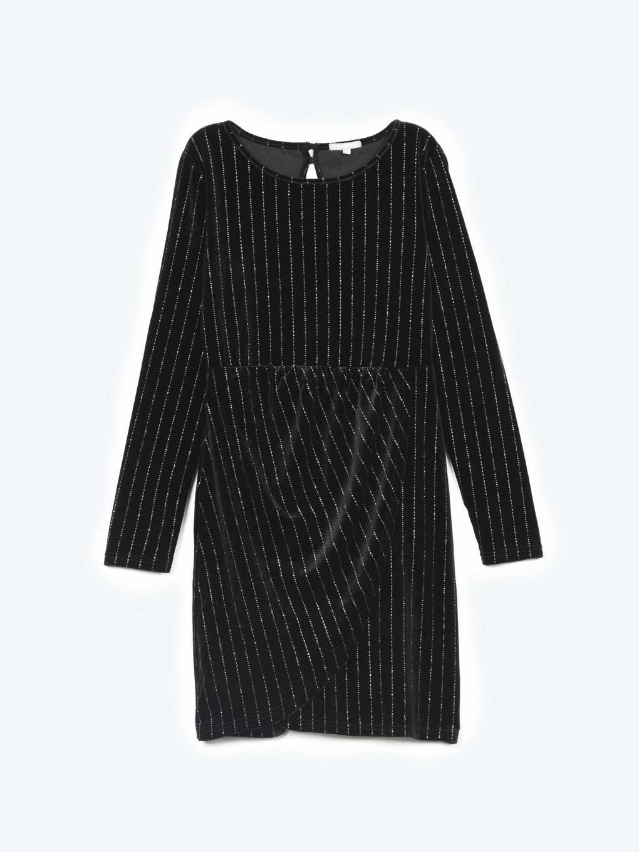 Striped velvet dress with open back