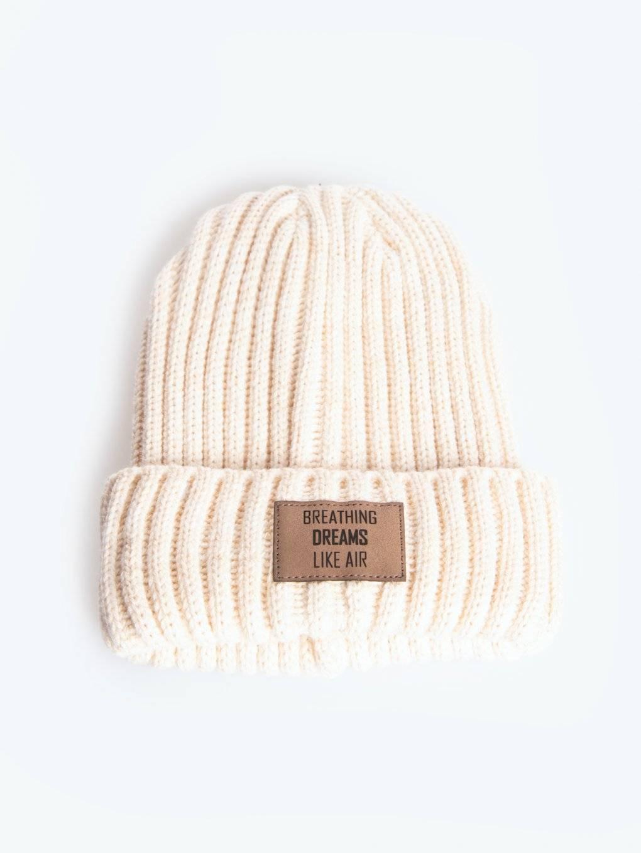 Rib-knit beanie with patch