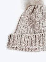 Chenille beanie with faux fur pompom