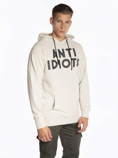 Hoodie with slogan print
