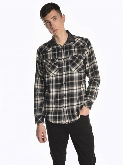 Plaid regular fit cotton shirt
