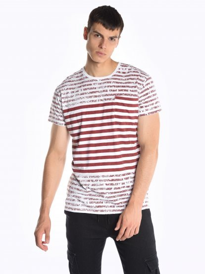 Striped t-shirt with chest pocket