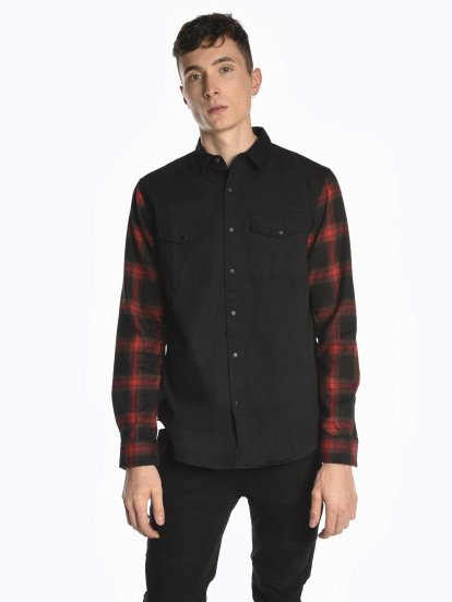 Shirt with plaid sleeves