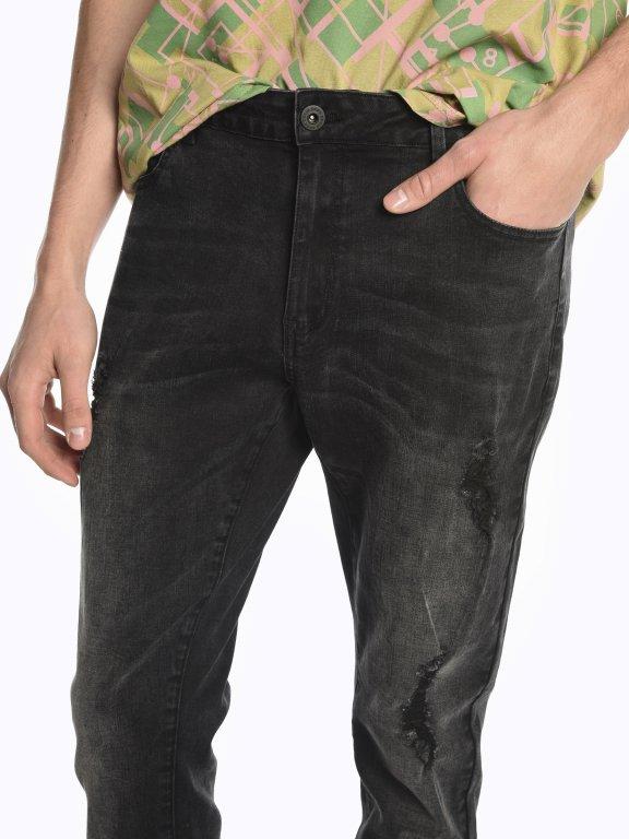 Damaged straight slim fit jeans