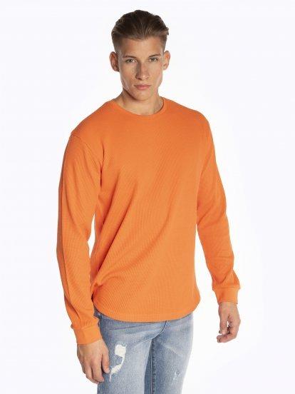 Základné vafľové tričko s dlhým rukávom