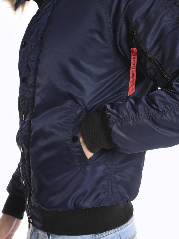 Vatovaná bunda bomber s kapucí
