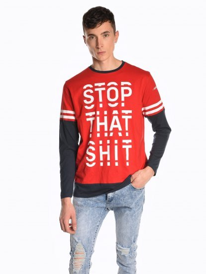 Message print long sleeve t-shirt