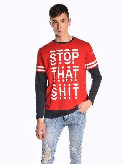 Tričko s dlouhým rukávem a nápisem