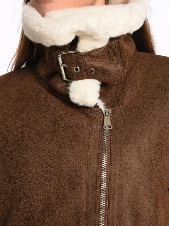 Faux suede pile lined warm coat