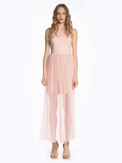 Maxi evening dress with tulle skirt