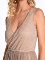 Maxi metallic wrap evening dress
