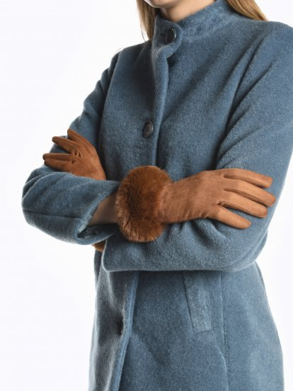 Gloves with faux fur