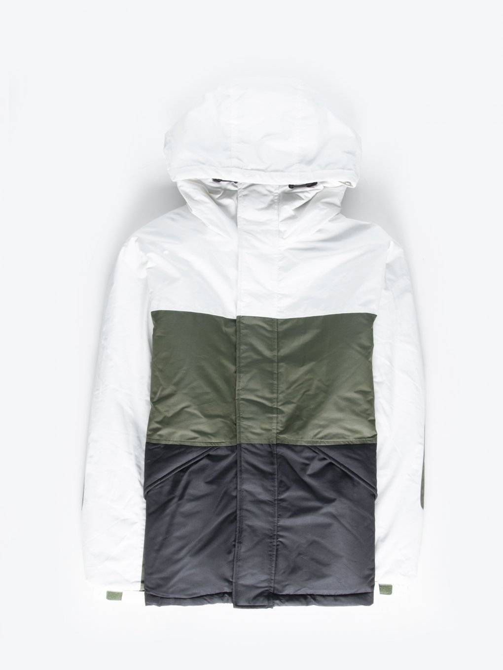 Colour block padded jacket with hood
