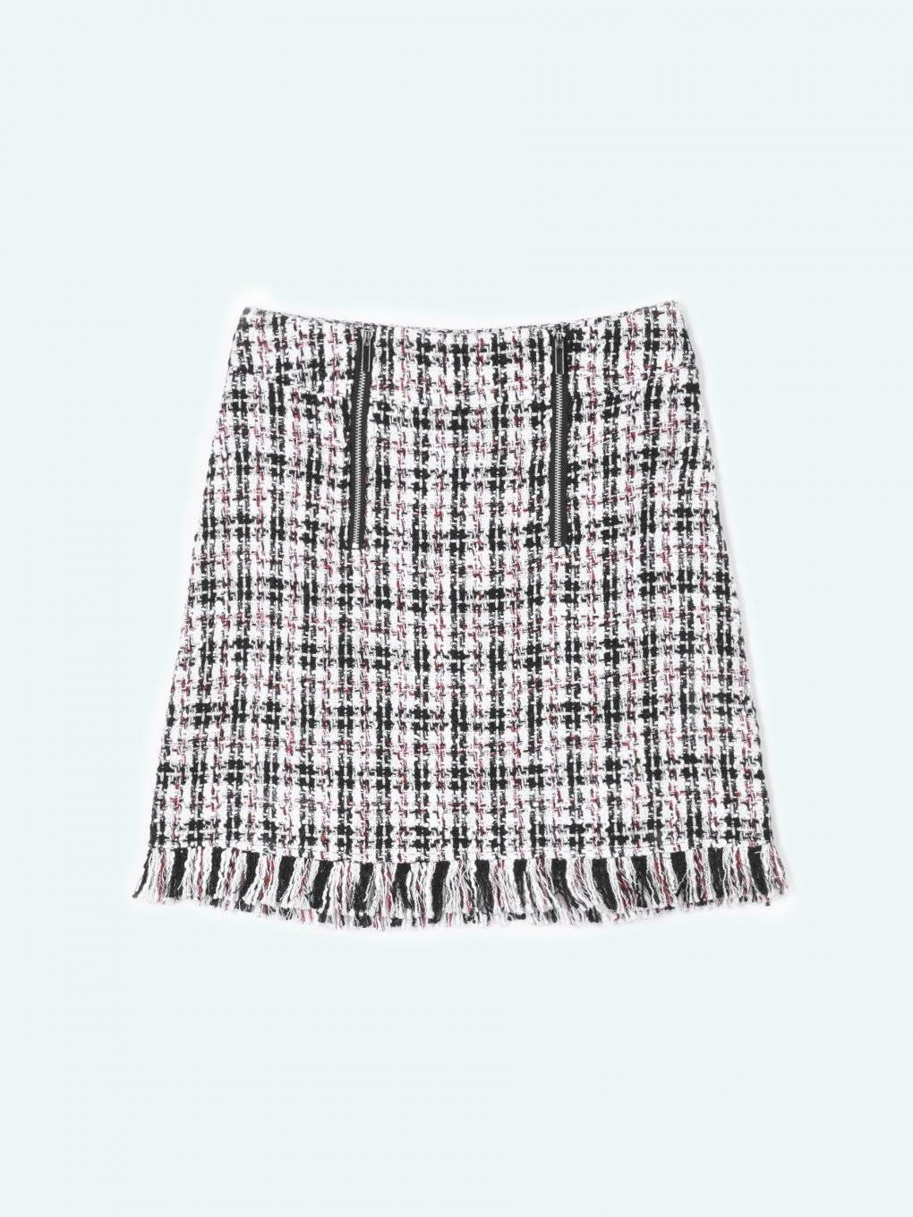 Jacquard skirt with fringes