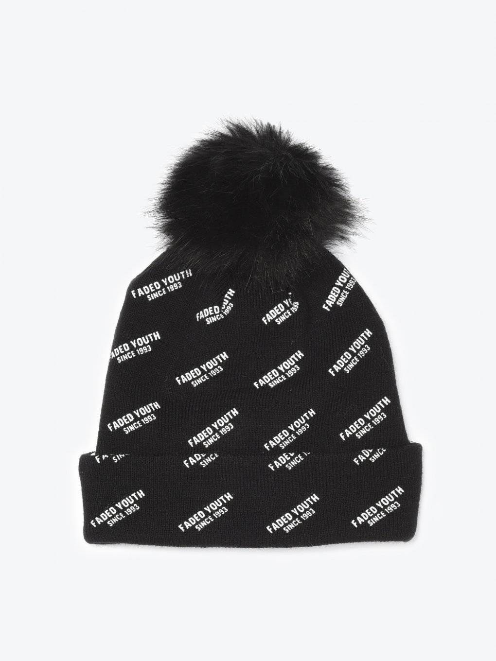 Faux fur pom beanie with print