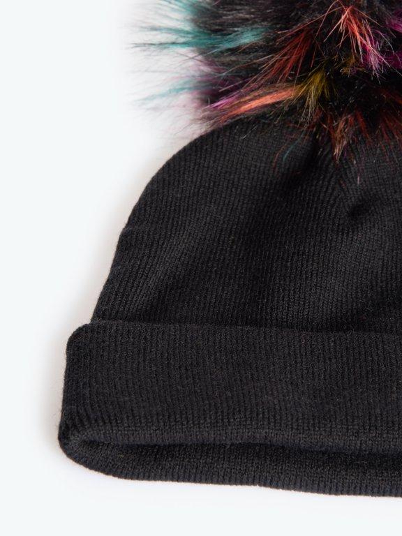 Colourful faux fur pom beanie