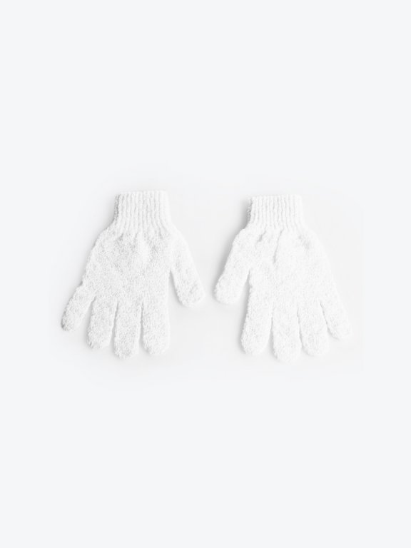 Exfoliating bath gloves