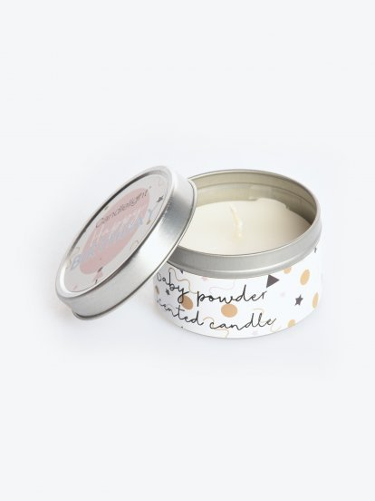 Baby powder scented tin candle