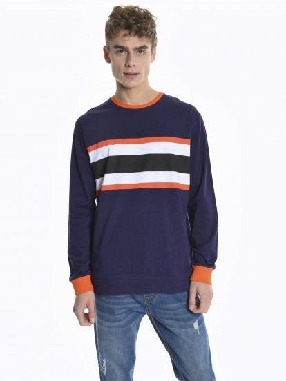 Tričko s dlouhým rukávem a kontrastním lemem