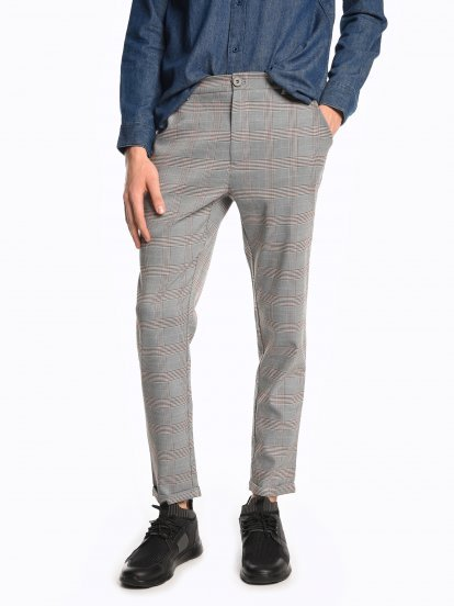 Cropped plaid chino pants