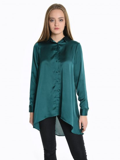Longline shirt with satin finish