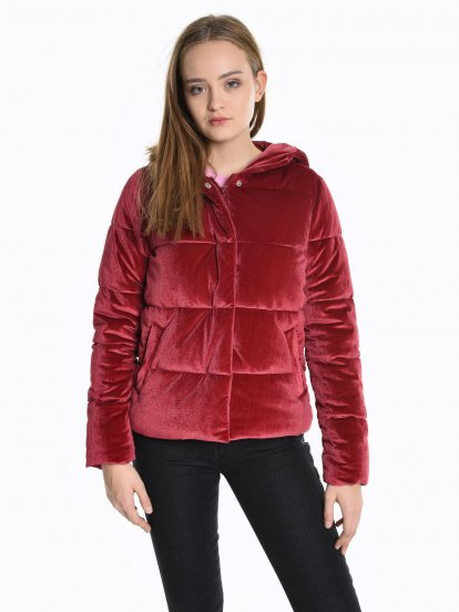 Quilted padded velour jacket