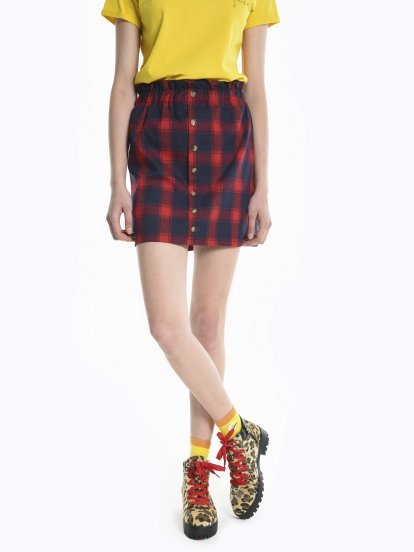 Plaid paper bag skirt