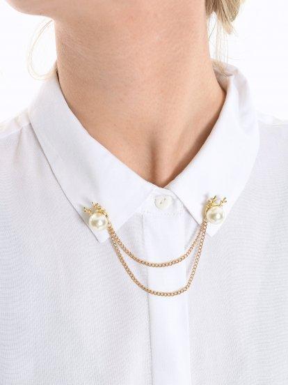 Ozdoba na golier s perlami