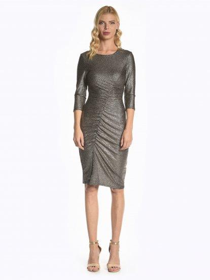 Metaliczna ołówkowa sukienka