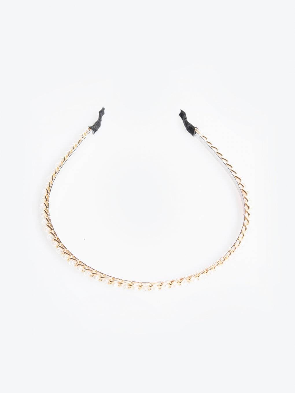 Metal headdress with pearls