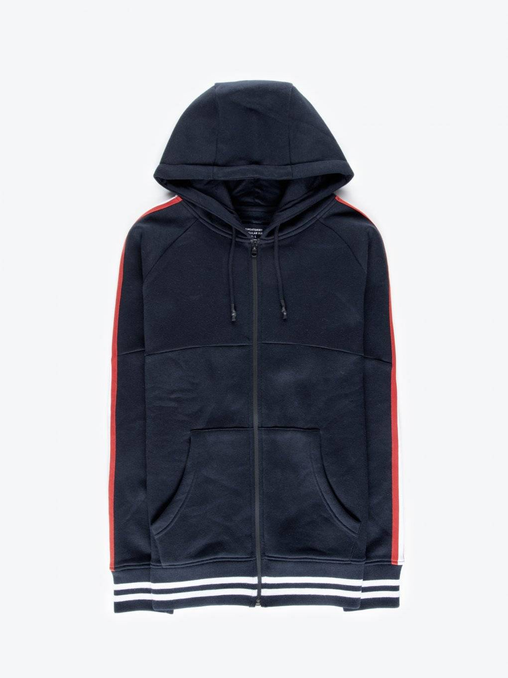 Taped zip-up hoodie