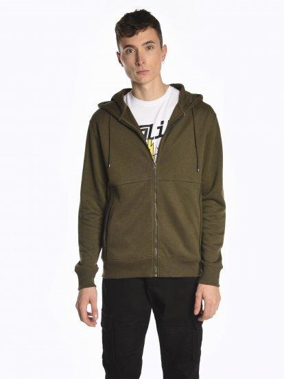 Piqué zip-up hoodie