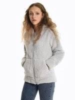 Fluffy zip-up hoodie