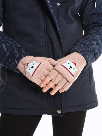 Rukavice bez prstů medvídek