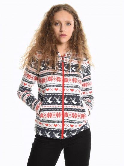Printed zip-up hoodie