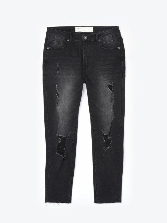 Slim jeans with raw hems