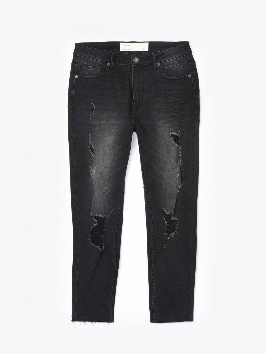 Slim jeans with raw hems