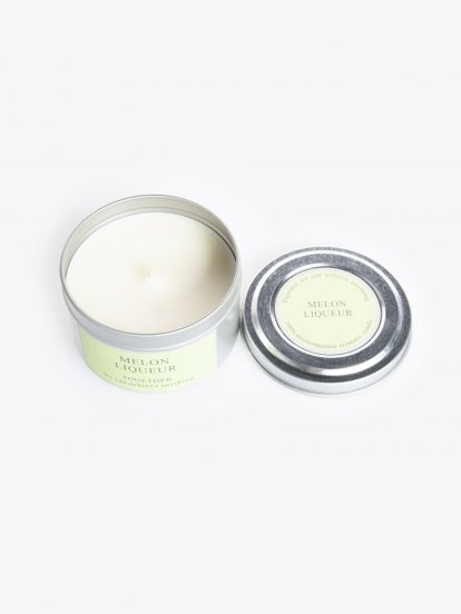 Melon liqueur scented tin candle