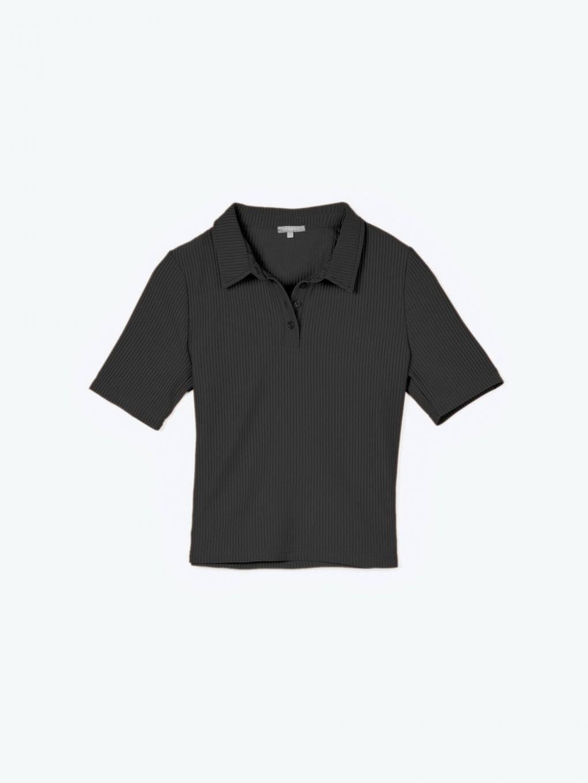 Ribbed polo shirt