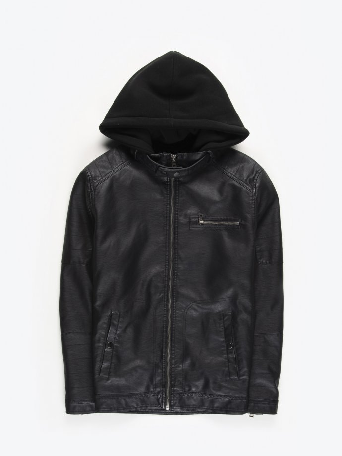 Faux leather biker jacket with removable hood