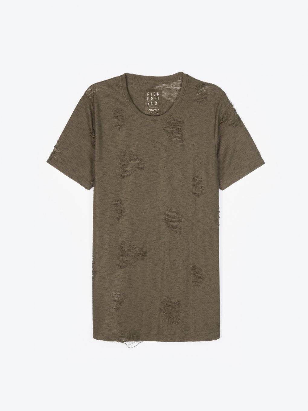 Distressed t-shirt with scoop hem