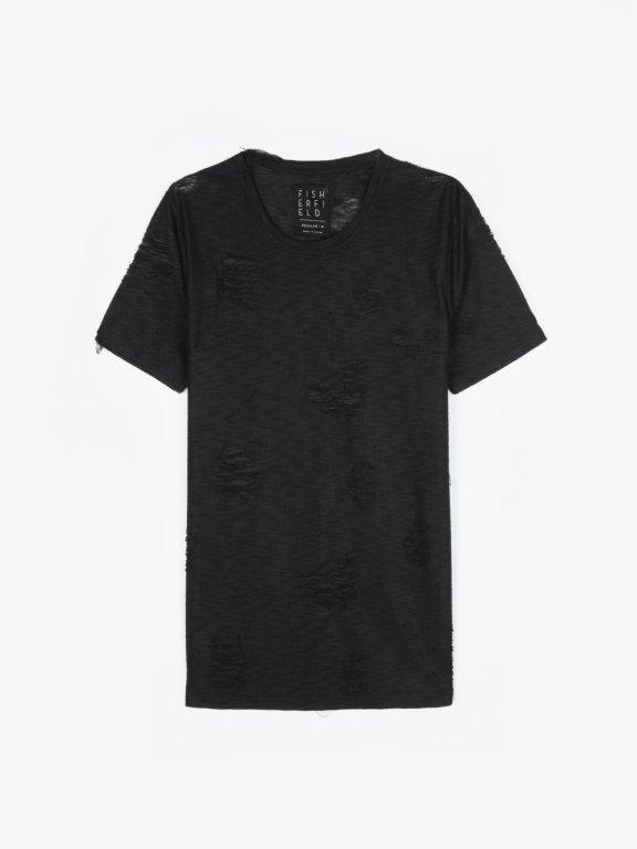 Koszulka z dziurami z okrągłym dolnym brzegiem