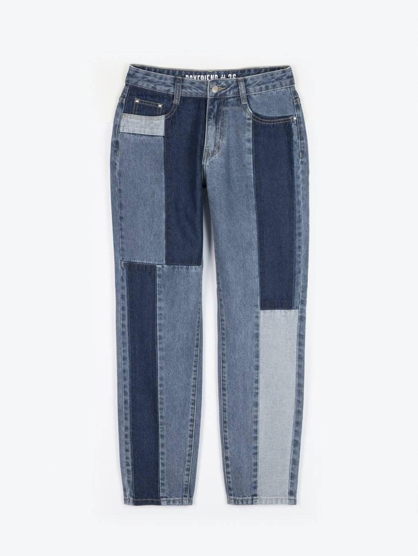 Boyfriend fit paneled jeans