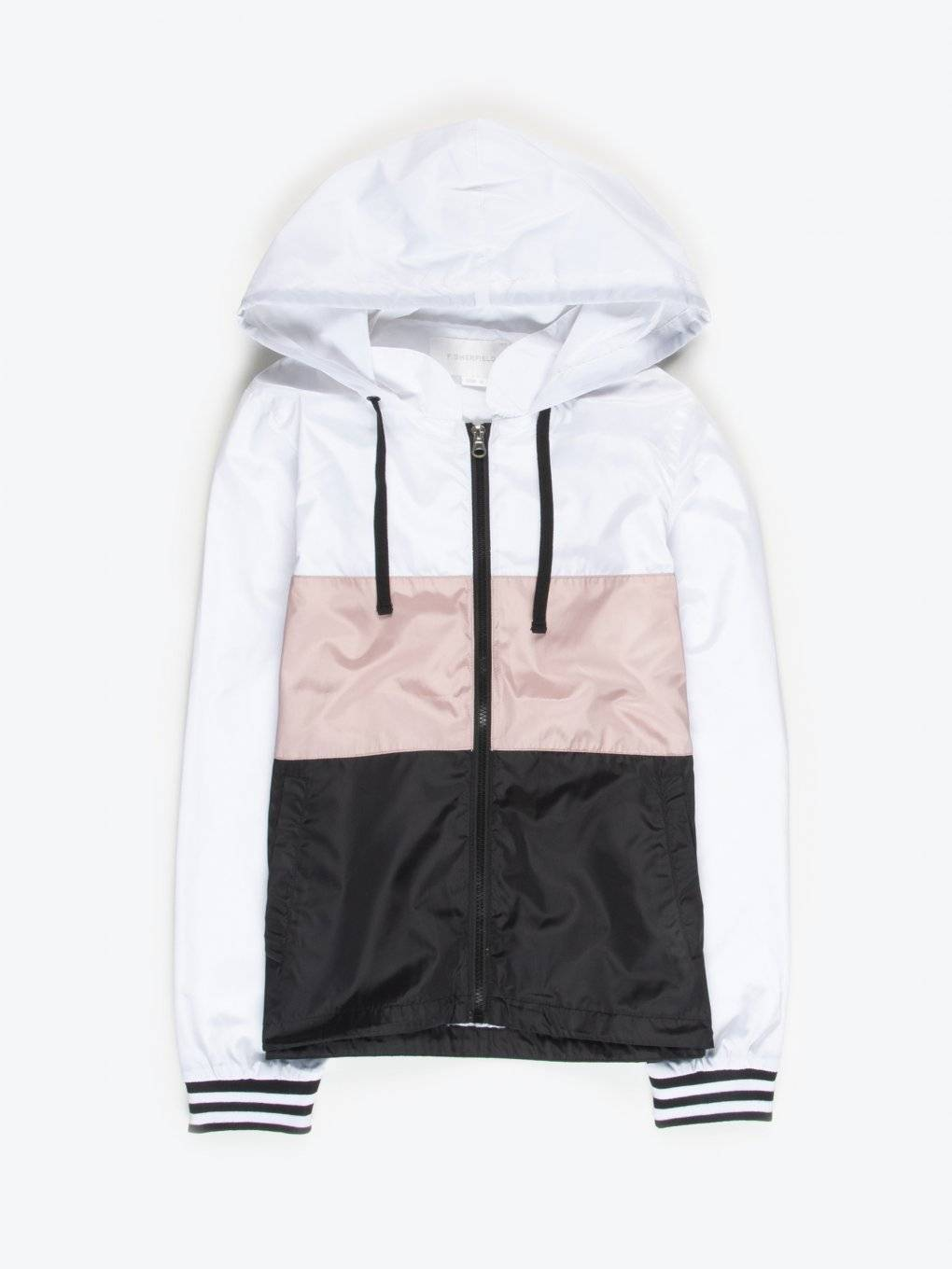 Colour block jacket with hood