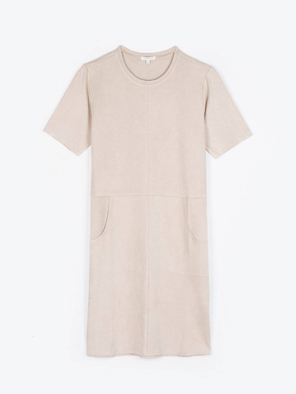 Fake suede dress with pockets