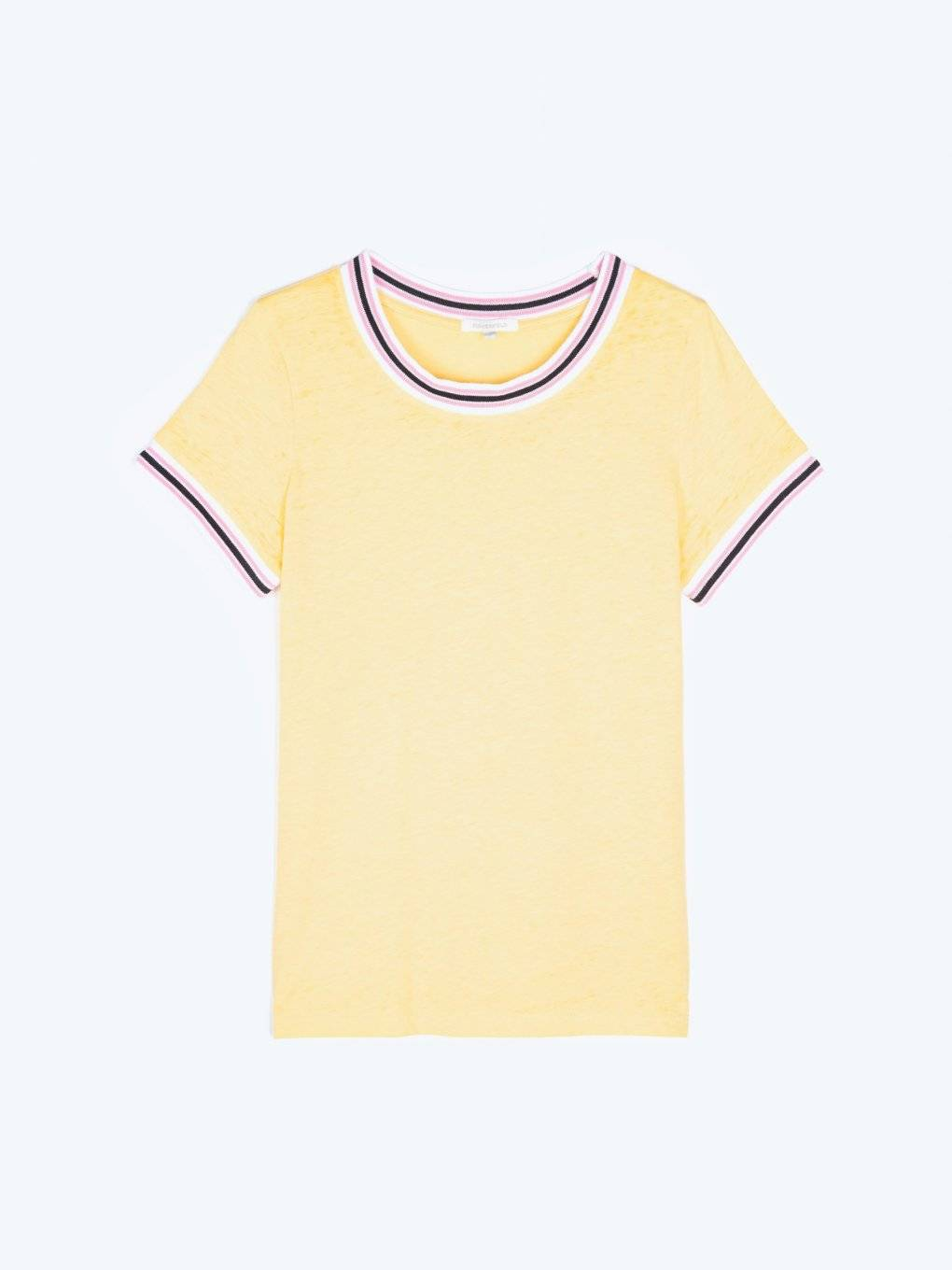 T-shirt with burnt out effect and contrasting trims