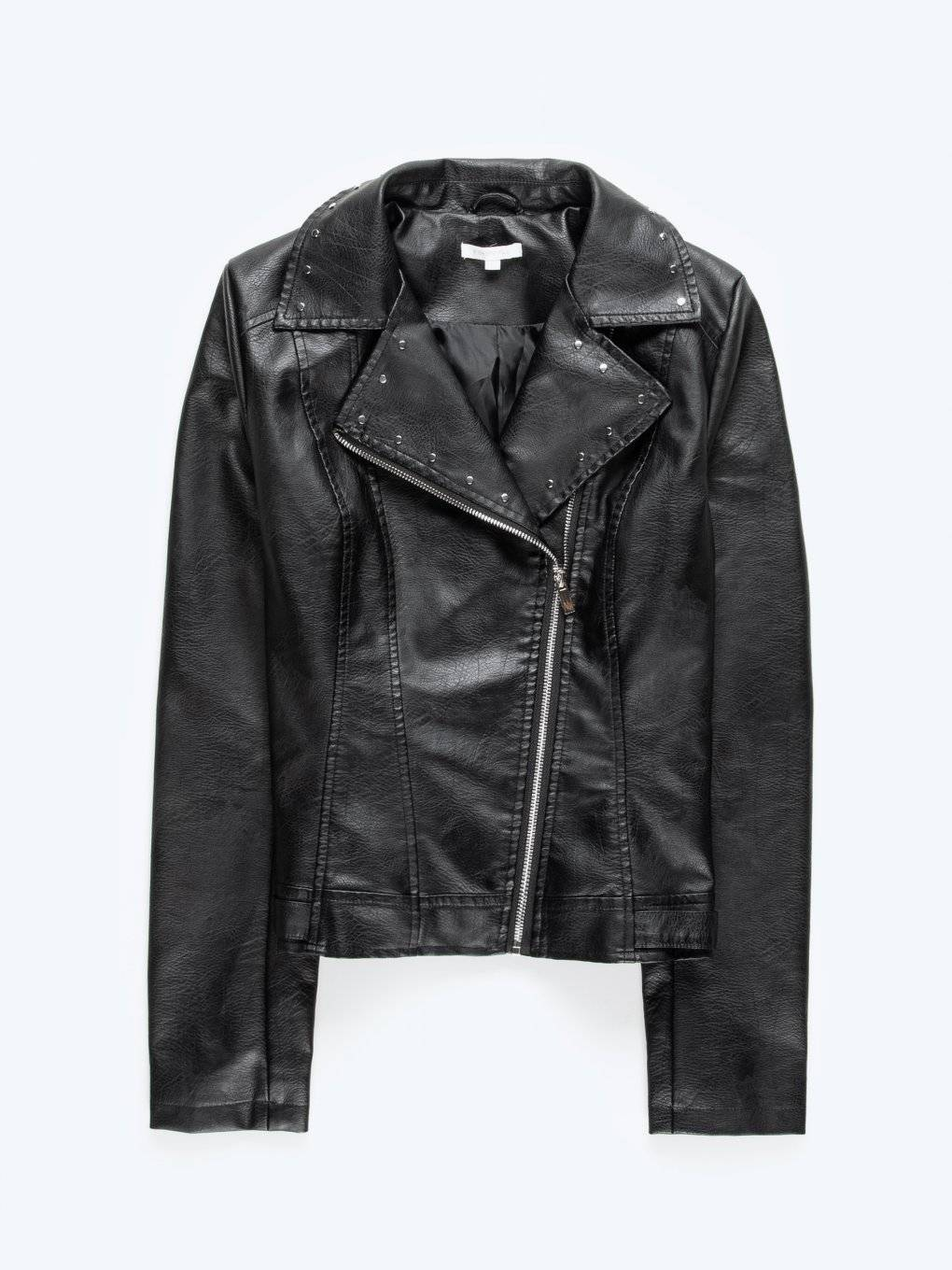 Faux leather biker jacket with studs on collar