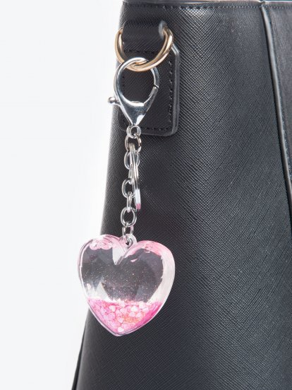 Heart shape glitter key ring