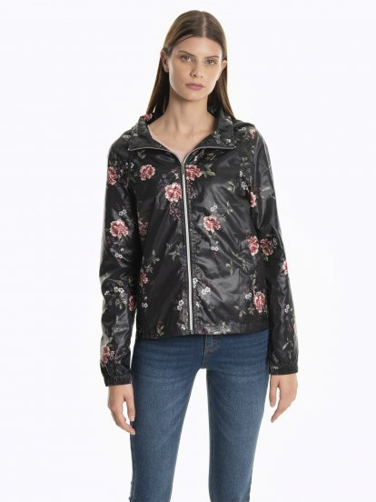 Floral print jacket with hood