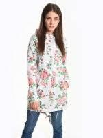 Longline floral print hoodie